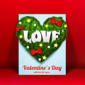 Cartão de dia dos namorados com inscrição e coração verde de ramos arcos baubles estrelas ilustração vetorial isolado