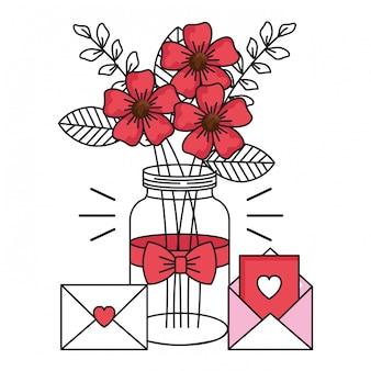 Cartão de dia dos namorados com jarra e ícones