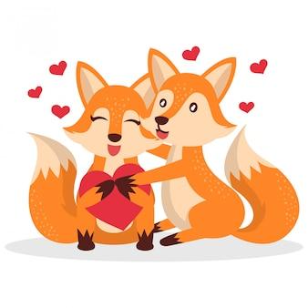 Cartão de dia dos namorados com lindo casal de lobo