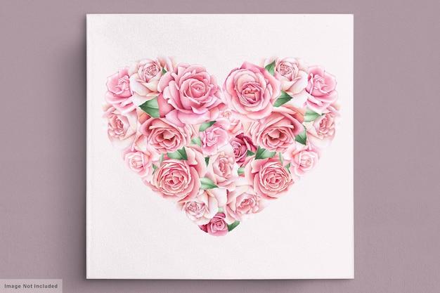 Cartão de dia dos namorados com lindos florais e folhas