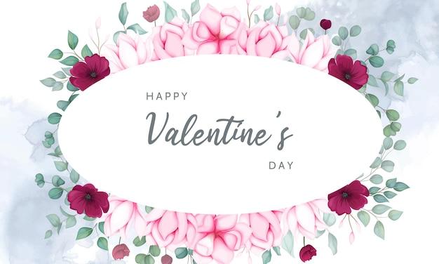 Cartão de dia dos namorados com lindos florais Vetor Premium