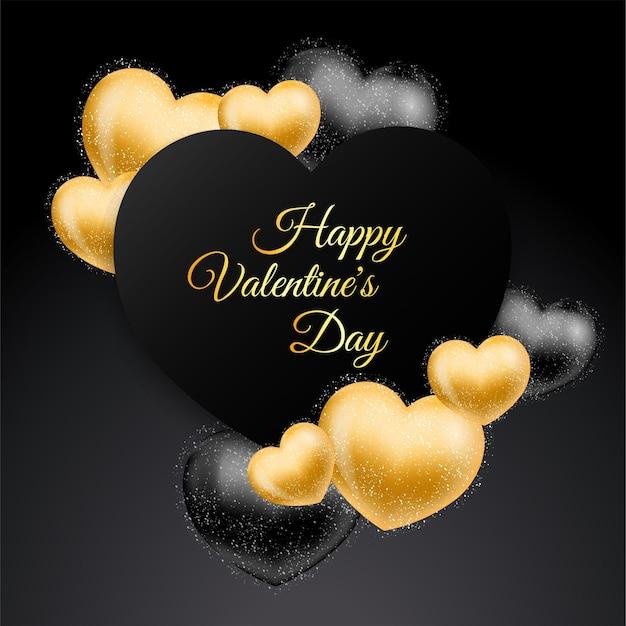 Cartão de dia dos namorados com luxo e corações de ouro