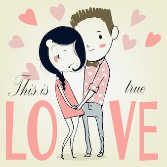 Cartão de dia dos namorados com menino e menina dos desenhos animados. ilustração vetorial.