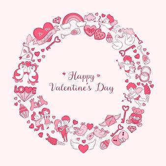 Cartão de dia dos namorados com moldura circular cheia de ícones e texto adorável doodle