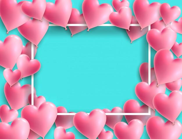 Cartão de dia dos namorados com moldura de corações