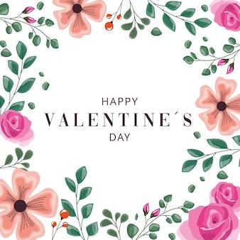 Cartão de dia dos namorados com moldura de decoração floral.