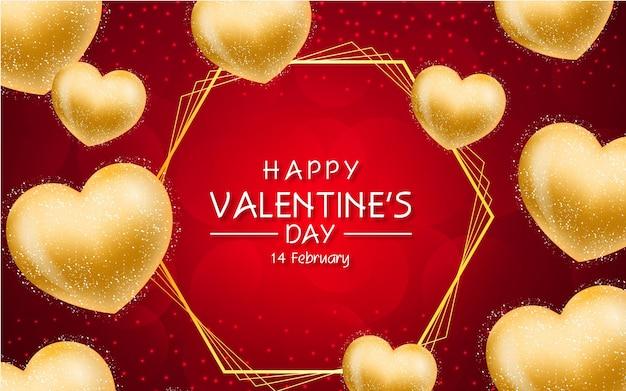 Cartão de dia dos namorados com moldura dourada e corações dourados