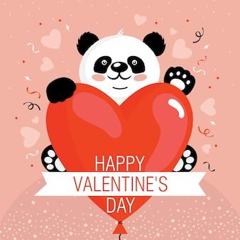 Cartão de dia dos namorados com o panda e o coração.
