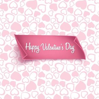 Cartão de dia dos namorados com padrão de coração sem costura e papel realista.