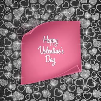Cartão de dia dos namorados com padrão de coração sem costura, textura brilhante e papel realista.
