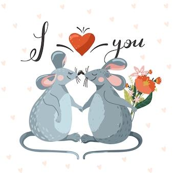 Cartão de dia dos namorados com par de rato bonitinho apaixonado.