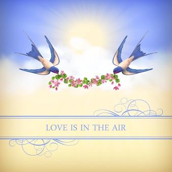 Cartão de dia dos namorados com pássaros voando e guirlanda de flores no fundo do céu