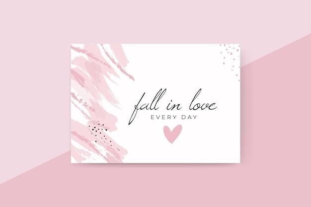 Cartão de dia dos namorados com pintura abstrata em monocolor