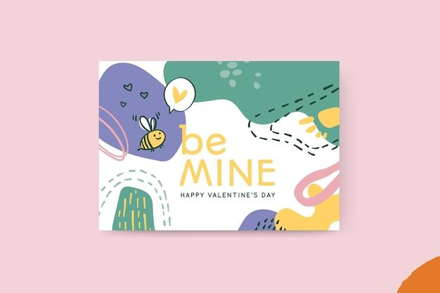 Cartão de dia dos namorados com pintura abstrata infantil