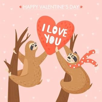 Cartão de dia dos namorados com preguiças