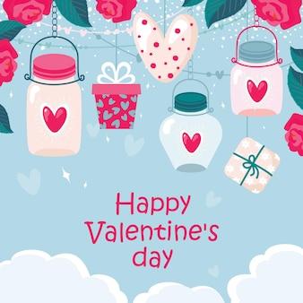 Cartão de dia dos namorados com presente, rosas, coração em uma jarra.