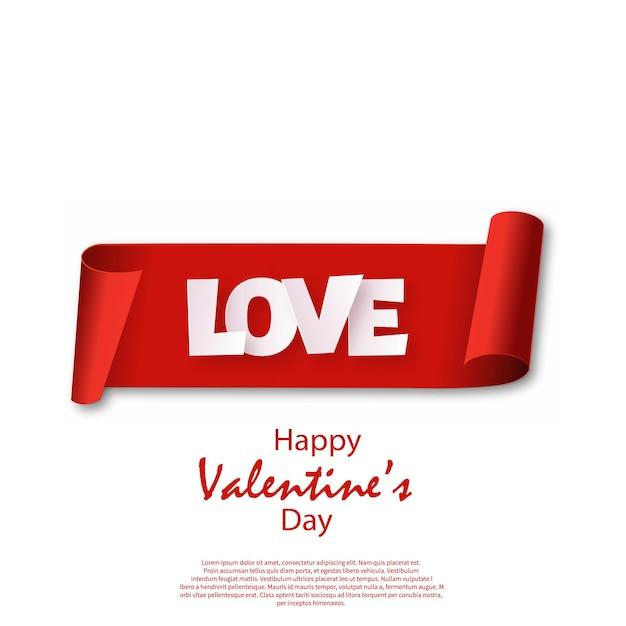 Cartão de dia dos namorados com rolo vermelho. vetor.
