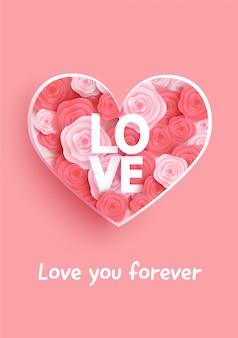 Cartão de dia dos namorados com rosas e coração.