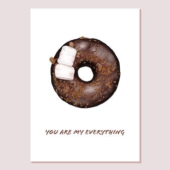 Cartão de dia dos namorados com rosquinha de chocolate