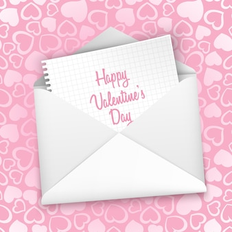 Cartão de dia dos namorados, com um envelope branco sem costura padrão com corações