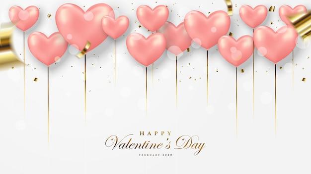 Cartão de dia dos namorados. com uma ilustração 3d de um balão vermelho de amor.