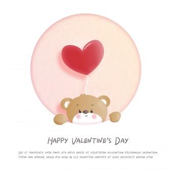 Cartão de dia dos namorados com ursinho fofo no papel cortado ilustração estilo.