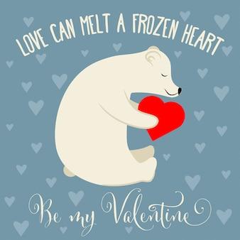 Cartão de dia dos namorados com urso polar