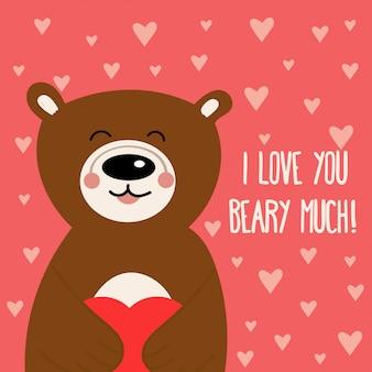 Cartão de dia dos namorados com urso