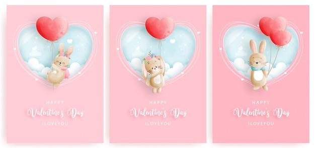 Cartão de dia dos namorados conjunto com bonito coelho e coração balão.
