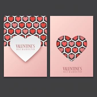 Cartão de dia dos namorados conjunto com padrão de coração fofo