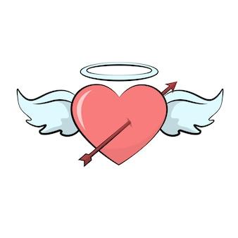 Cartão de dia dos namorados coração com asas de seta
