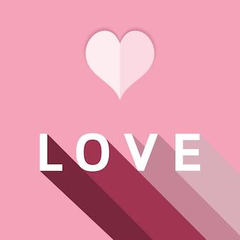 Cartão de dia dos namorados coração com palavra amor e sombra.