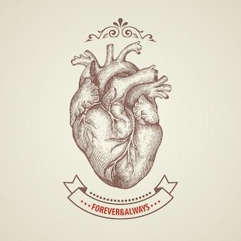 Cartão de dia dos namorados coração retrô gravura