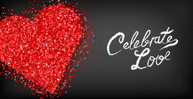 Cartão de dia dos namorados coração vermelho glitter