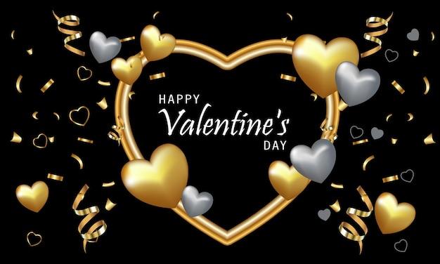 Cartão de dia dos namorados, corações realistas, ouro e prata