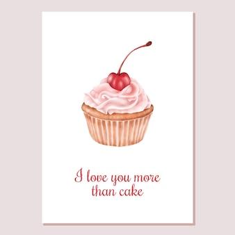 Cartão de dia dos namorados cupcake doces com cereja