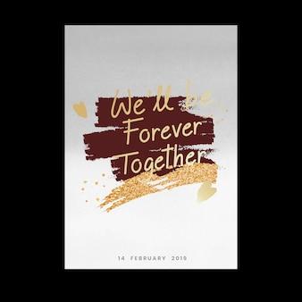 Cartão de dia dos namorados doce e tipografia