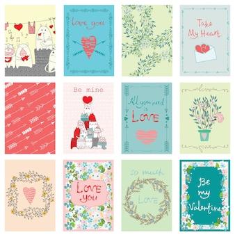 Cartão de dia dos namorados e tags com letras de amor de mão desenhada. perfeito para o dia dos namorados, adesivos, convite para salvar a data