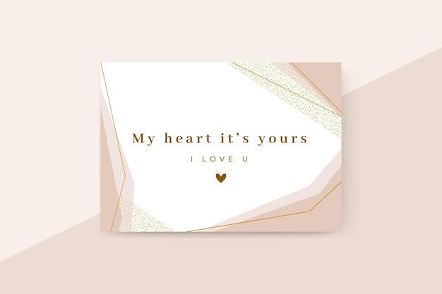 Cartão de dia dos namorados elegante geométrico