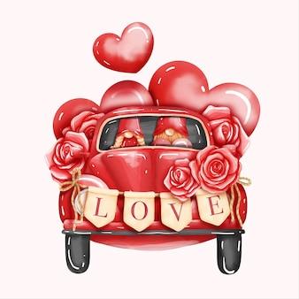 Cartão de dia dos namorados em aquarela com gnomo e o besouro volkswagen dos namorados