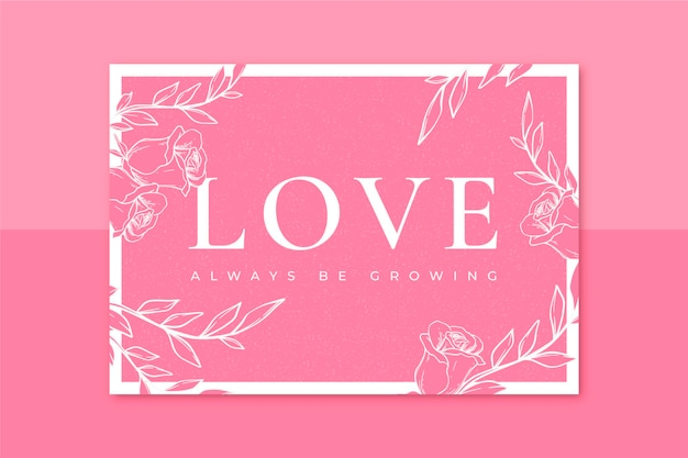 Cartão de dia dos namorados em monocolor floral