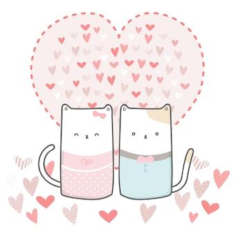 Cartão de dia dos namorados feliz fofo com casal amante de gato