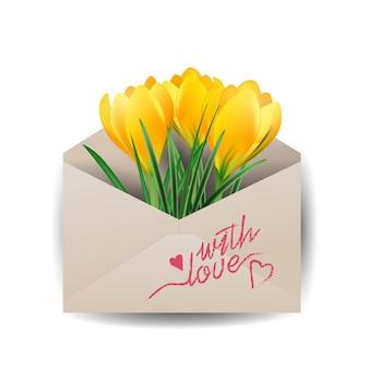 Cartão de dia dos namorados flores coloridas de primavera açafrões no envelope fundo de primavera do conceito