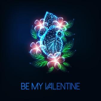 Cartão de dia dos namorados futurista com brilho baixo coração humano anatômico poligonal e flores