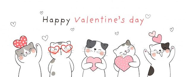 Cartão de dia dos namorados gato