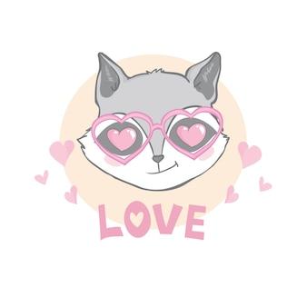 Cartão de dia dos namorados - guaxinim bonito com corações nos olhos e texto de amor