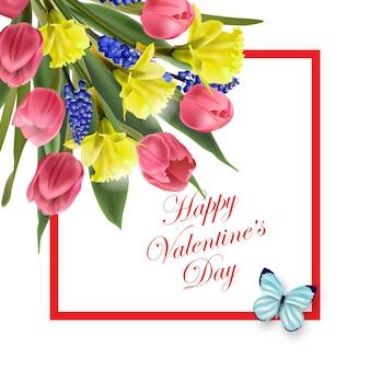 Cartão de dia dos namorados lindo buquê de flores da primavera, tulipas, narcisos, vetor de fundo da primavera