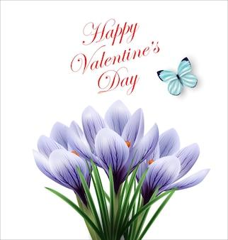 Cartão de dia dos namorados lindo buquê de flores de primavera açafrões vetor de fundo de primavera
