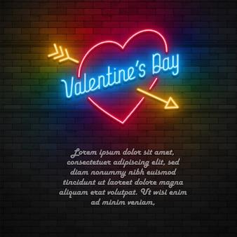 Cartão de dia dos namorados luz de néon