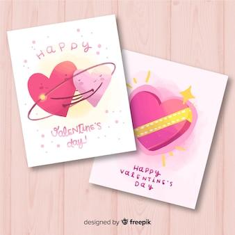 Cartão de dia dos namorados mão desenhada corações